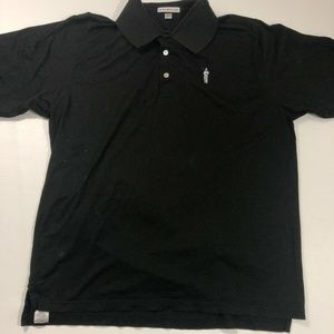 Peter Millar  Solid Black Golf Polo Shirt Sz XL
